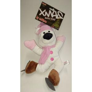 Animate Xmas Squeaks Dog Toy Pink