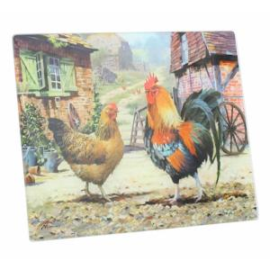 Cockerel and Hen Glass Cutting Board