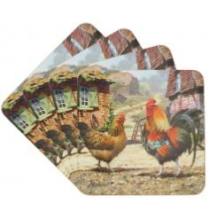 Cockerel and Hen Pack of 4 Coasters