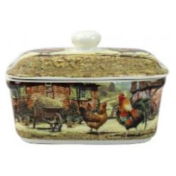 Cockerel and Hen Butter Dish